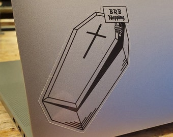 BRB Napping - coffin shaped sticker (transparent & holographic)