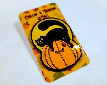 Chillin' & Thinking of Fall - Cat Pumpkin Enamel Pin