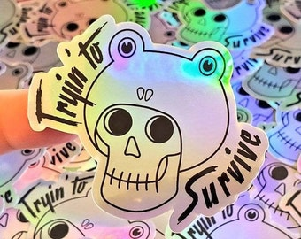 Trying to Survive - Frog Hat Skull Sticker (holographic)