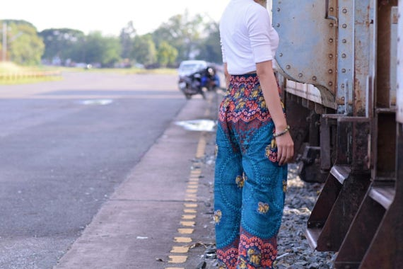 Pantalon vert fleur colorée pantalons pantalon rayonne Thai pantalon Sarouel femme pantalon éléphant couleur or