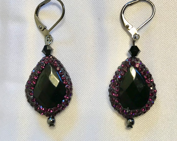 Circle Me Purple Black Agate and Druzy Rhinestone Dangle Earrings