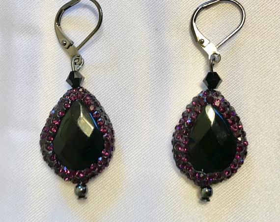 Circle Me Purple Black Agate and Druzy Rhinestone Dangle Earrings