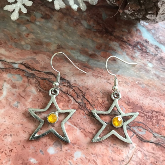 Funky Christmas Star Dangle Earrings