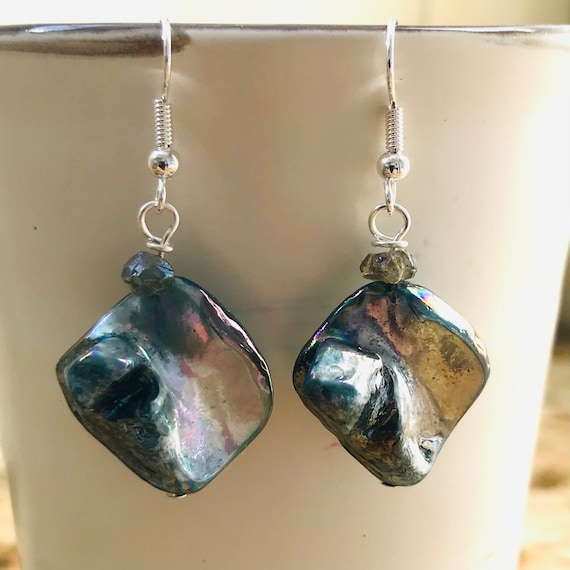 Blue and Purple Tone Mother of Pearl Shell and Quartz Dangle Earrings