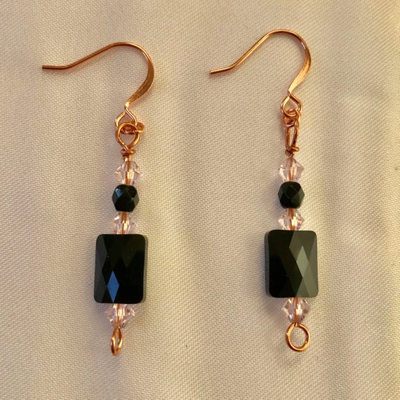Noir et Rose Black and Pink Swarovski Crystal Dangle Earrings