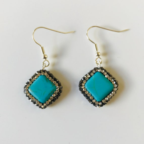 Terrific Turquoise Druzy Rhinestone Earrings