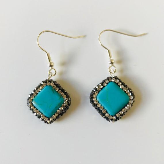 Turquoise Druzy Rhinestone Sterling Silver Dangle Earrings