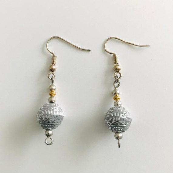 The Bohemian Silver Bead Drop Earrings