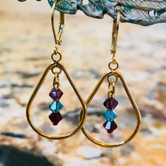 Gold Teardrop and Swarovski Crystal Dangle Earrings