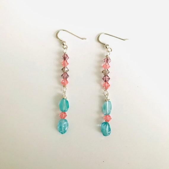 Blue Apatite and Swarovski Crystal Dangle Earrings
