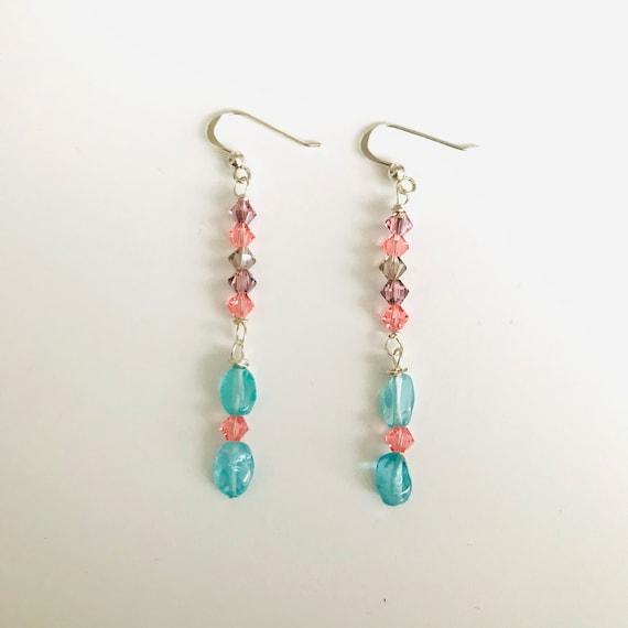 Blue Apatite and Swarovski Crystal Dangle Earrings