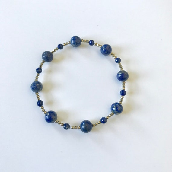 Lapis Lazuli and Gold Pyrite Stretch Bracelet