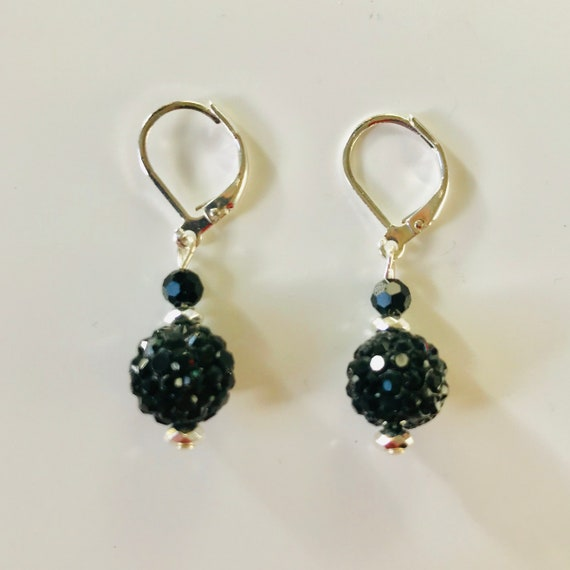 Black Rhinestone Crystal Ball Earrings