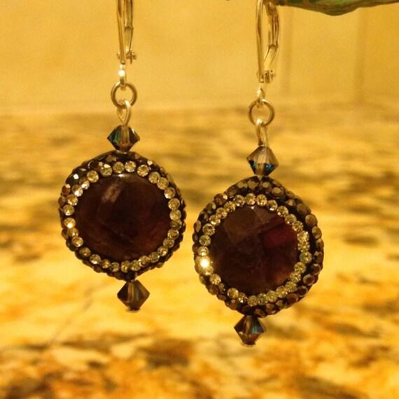 Amazing Amethyst Druzy Rhinestone Earrings