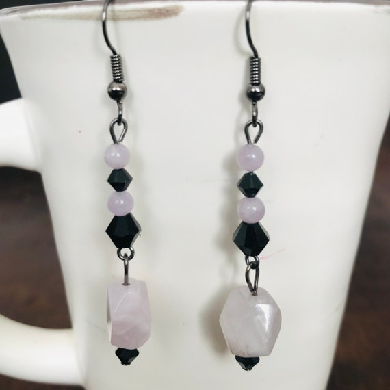 Light Amethyst and Black Swarovski Crystal Dangle Earrings