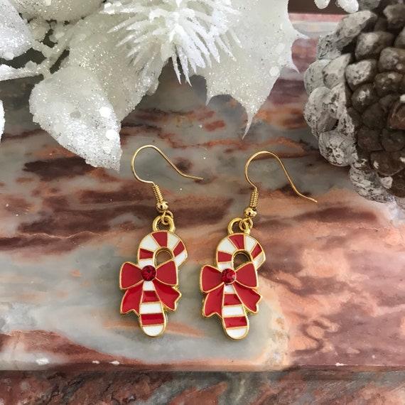 Christmas Candy Cane Dangle Earrings