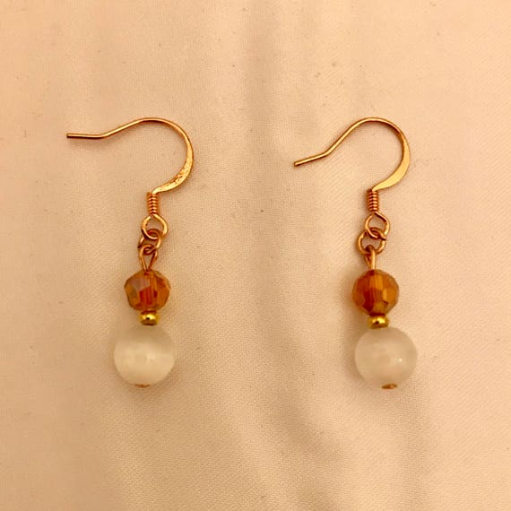 White Cat's Eye Rose Tone Earrings