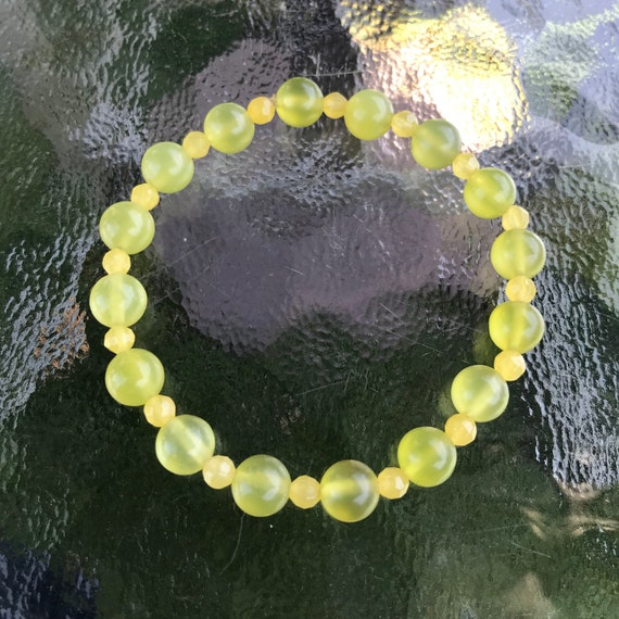 Green Prehnite and Yellow Jade Bracelet