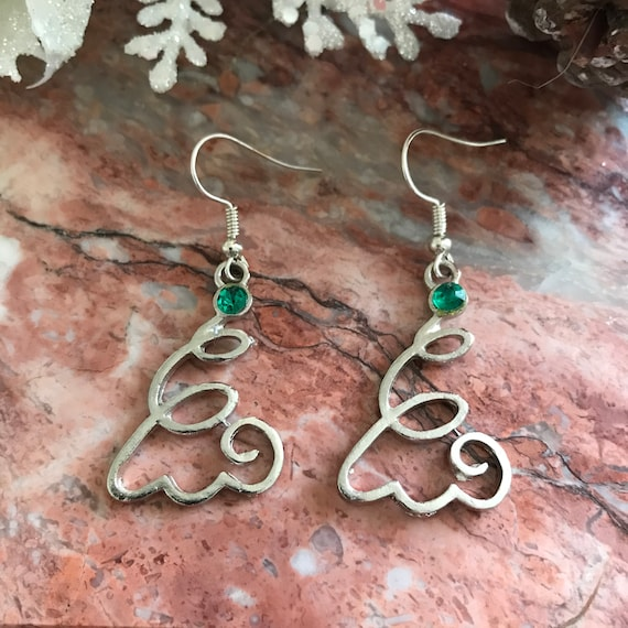Funky Christmas Tree Dangle Earrings
