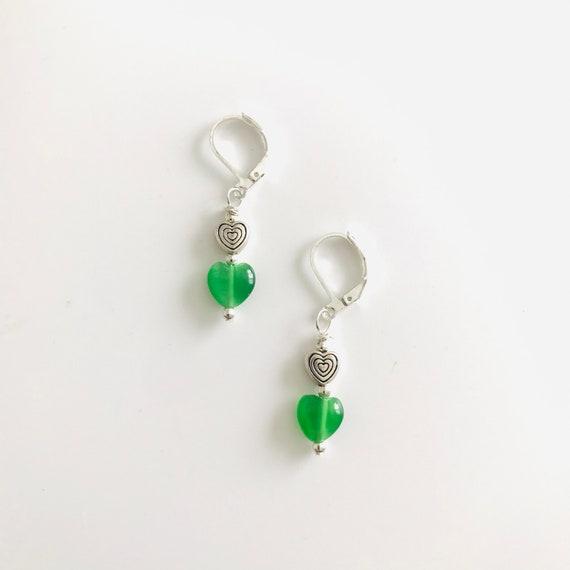 Green Cat's Eye Heart Dangle Earrings