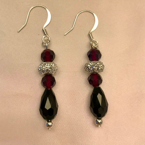 Brilliantly Black Burgundy  and Silver Dangle Earrings
