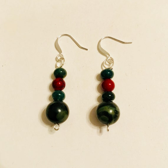 Green Agate, Quartzite and Jasper Dangle Earrings