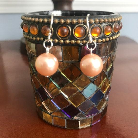 Elegant Pink Shell Pearl Dangle Earrings