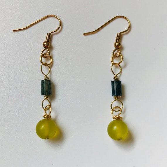 Pretty Prehnite and Green Moss Agate Dangle Earrings