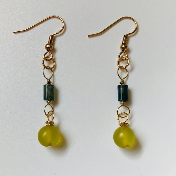 Pretty Prehnite and Green Moss Agate Dangle Earrings