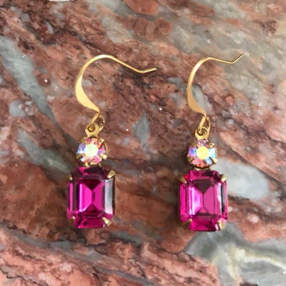 Vintage Swarovski Octagon Fuchsia and AB Rose Rhinestone Dangle Earrings