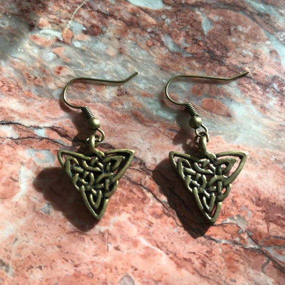 Antique Gold Celtic Weave Triangle Earrings