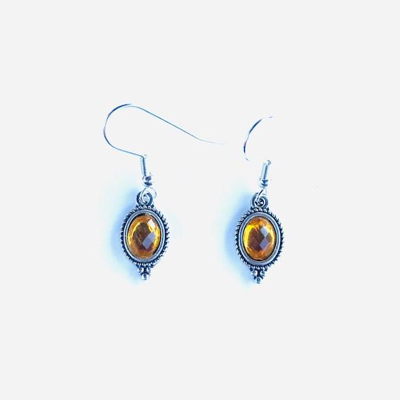 Faceted Yellow Glass Bezel Set Antique Silver Dangle Earrings