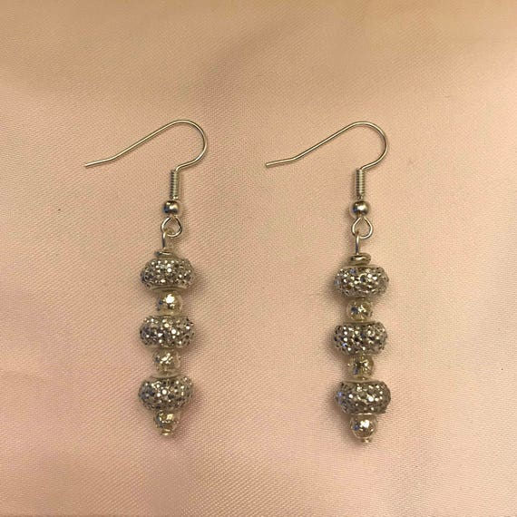 Sparkly Silver Dangle Earrings