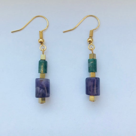 Amethyst and Green Moss Agate Barrel Earrings with Gold Hematite Accents