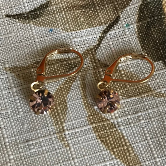 Sparkly Light Pink Crystal Rhinestone Dangle Earrings