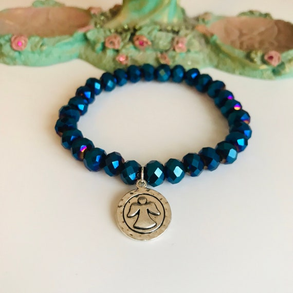 Guardian Angel Blue Metallic Crystal Bracelet