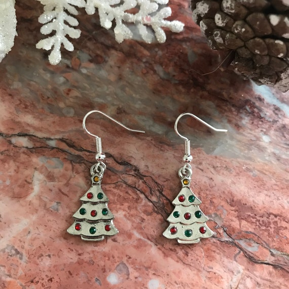 Silver Christmas Tree with Rhinestone Dangle Earrings
