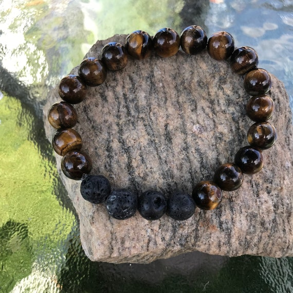Men's Tiger's Eye and Lava Bead Diffuser Bracelet