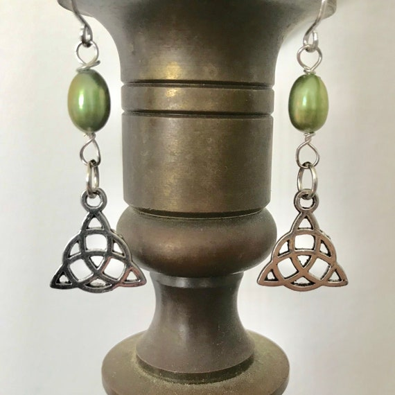 Irish Celtic Trinity Knot and Freshwater Pearl Earrings