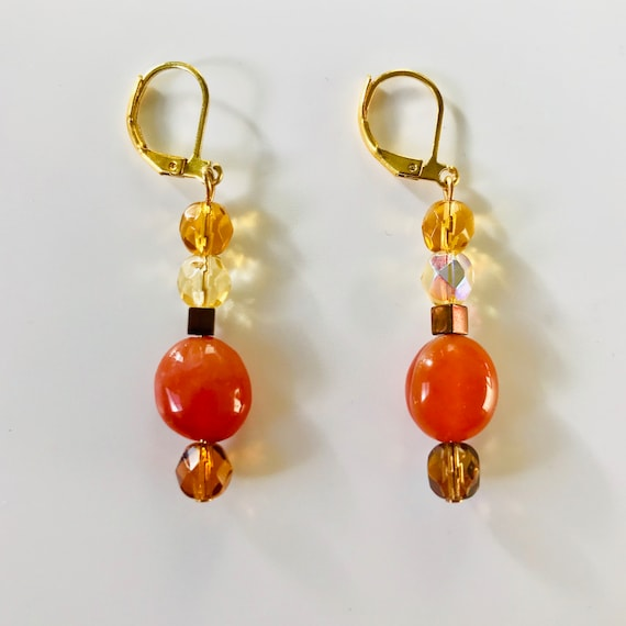 Carnelian and Crystal Dangle Earrings