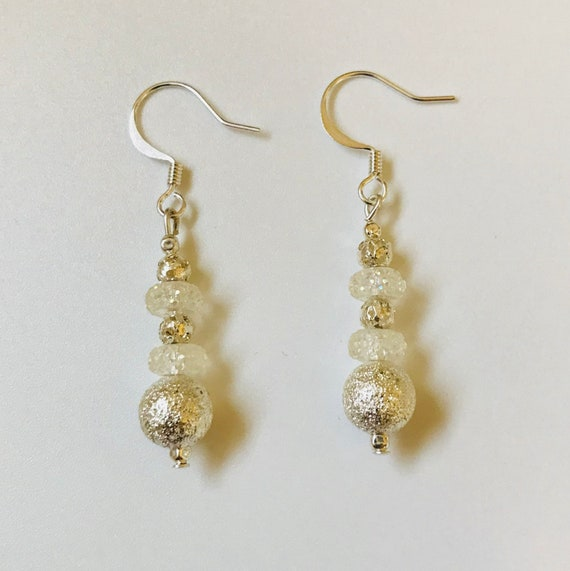 Winter White Sparkling Stardust Silver Dangle Earrings