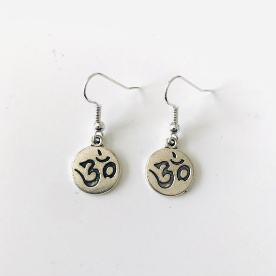 Silver OM Charm Dangle Earrings