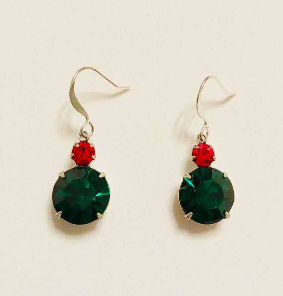 Red and Emerald Green Swarovski Crystal Rhinestone Earrings