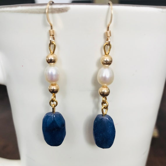 Elegant Faceted Blue Quartz and Freshwater Pearl Dangle Earrings