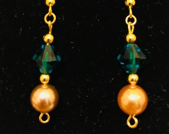 The Gold and Green Crystal and Pearl Dangle Earrings