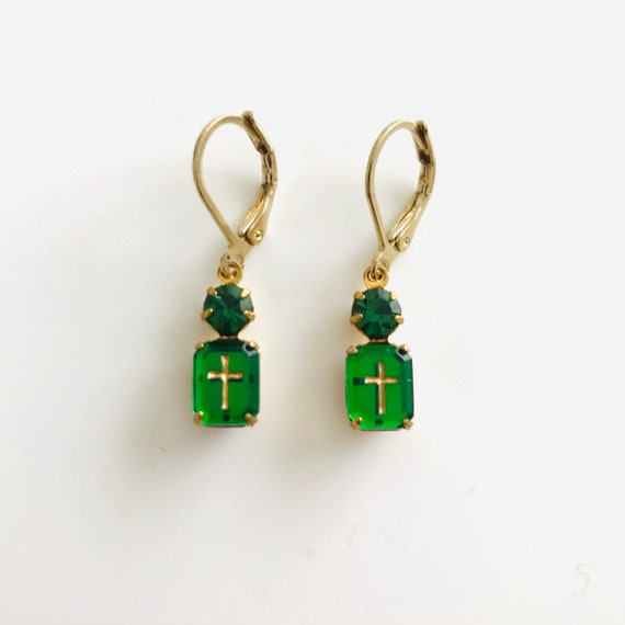 Emerald Green Octagon Zircon with Gold Intaglio Cross and Rhinestone Dangle Earrings