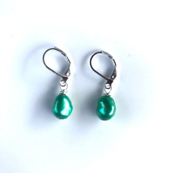 Green Baroque Freshwater Pearl Dangle Earrings