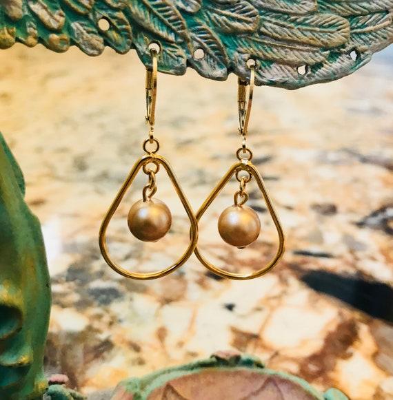 Gold Teardrop with Swarovski Pearl Dangle Earrings