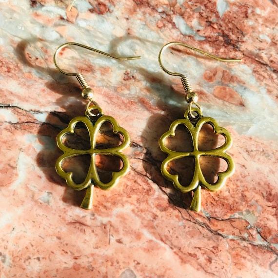 Golden Four Leaf Clover Earrings
