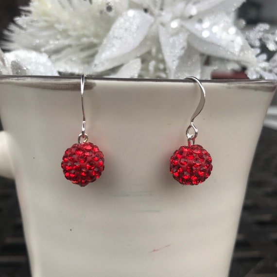 Red Pave Crystal Ball Holiday Dangle Earrings